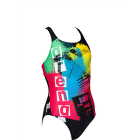 arena Rock Swim Pro Back One Piece Swimsuit Meisjes, black/freak rose